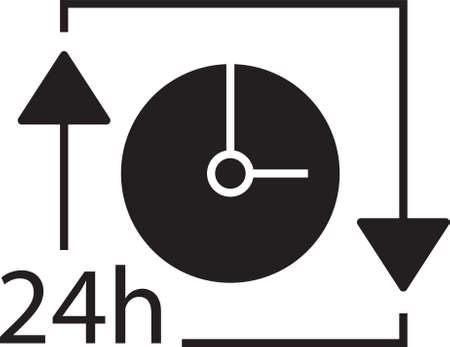 Clock with 24hours icon