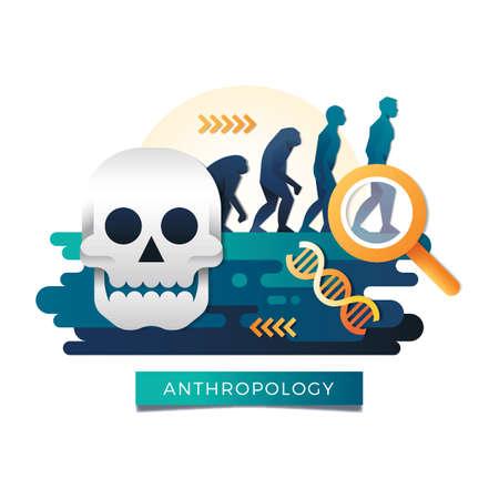 Concepto de antropología Ilustración de vector