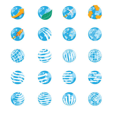 Collection of earth globes Ilustrace