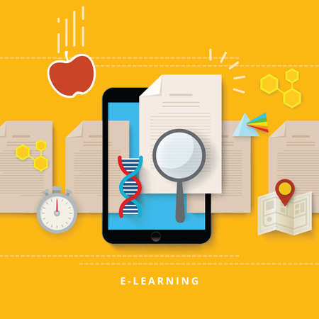 e-learning concept 向量圖像