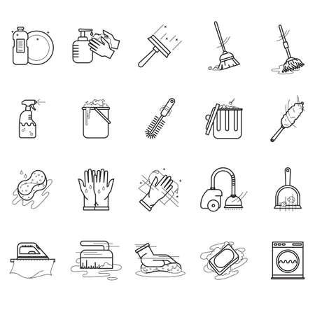 Collection d'outils de nettoyage. Vecteurs