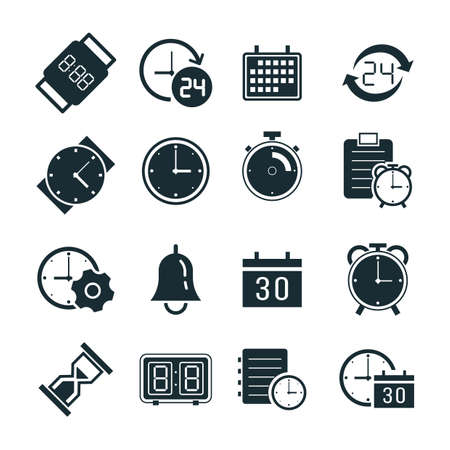 Collection of time icons. Illustration