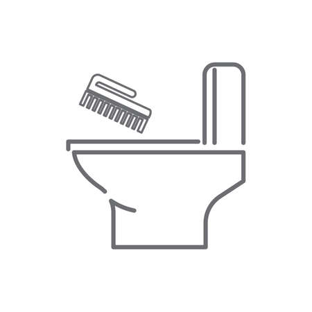toilet bowl with hand brush