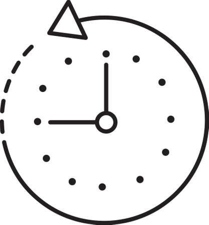 Clock with anticlockwise icon Ilustração