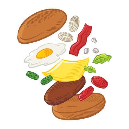 投げのチーズバーガー  イラスト・ベクター素材