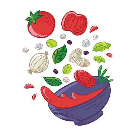 Tossed tomato soup Illustration
