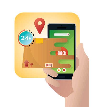 Mobile online shopping concept Çizim