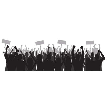 Silhouette of cheering crowd Ilustrace