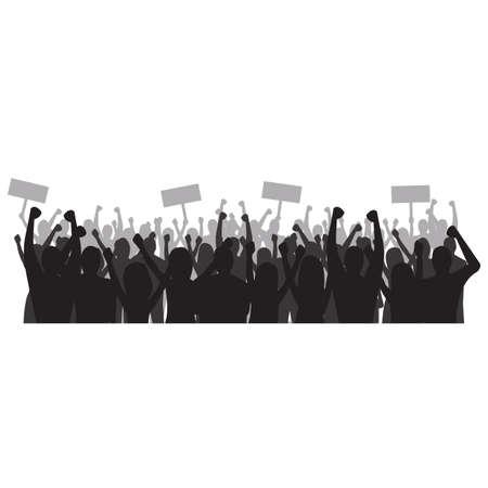 Silhouette of cheering crowd Иллюстрация