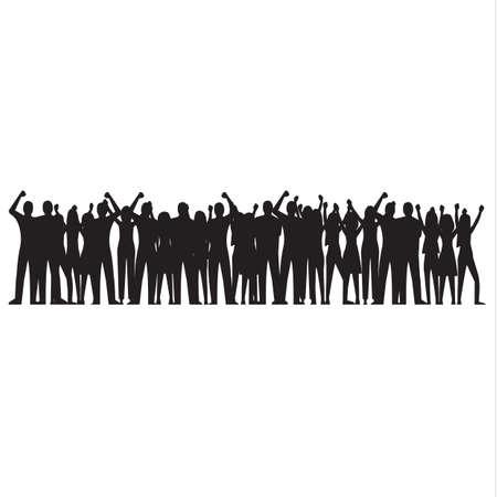 歓声を上げる群衆のシルエット
