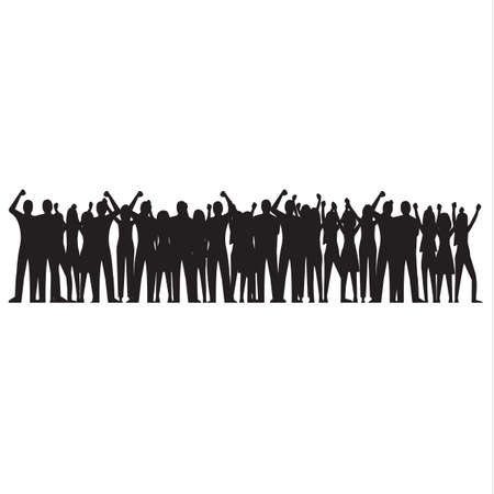 Silhouet van juichende menigte Stockfoto - 77176602