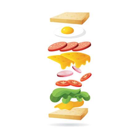 投げられた卵や肉のサンドイッチ  イラスト・ベクター素材