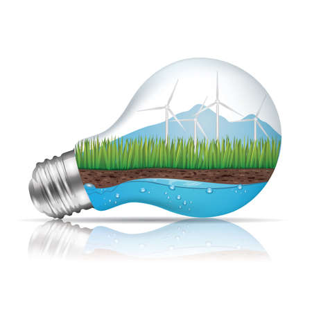 Light bulb with ecological concept Ilustracja