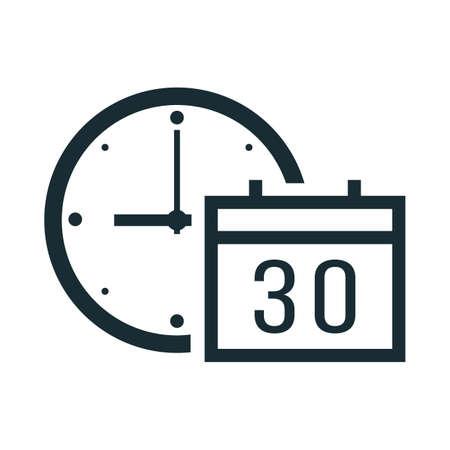 Clock with calendar Ilustração
