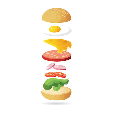 投げのハムと卵のハンバーガー
