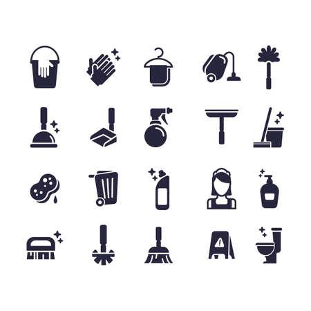 Set von Reinigungs-Icons Standard-Bild - 77250788