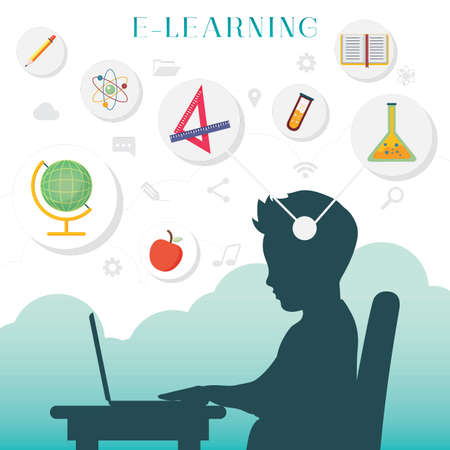 Silhouette of a boy with e learning concept Illustration