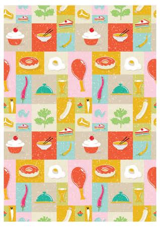 이음새가없는 음식 디자인 일러스트
