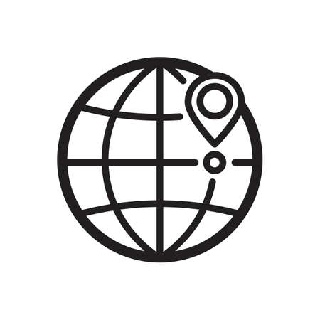 global positioning system: Globe with location marker concept icon