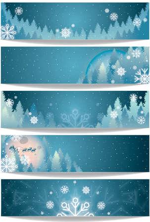 Set of winter theme banners Illustration