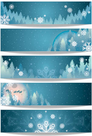 Set of winter theme banners Illustration