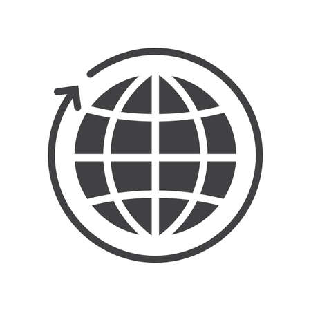 globe with arrow concept icon
