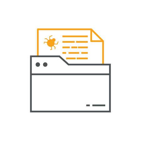 ウイルスを持つファイル  イラスト・ベクター素材
