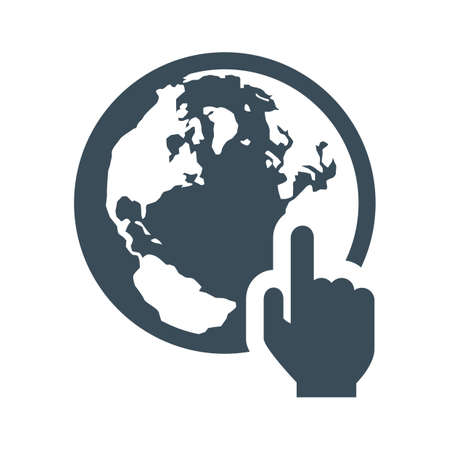 hand pointing at earth icon