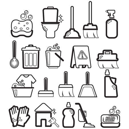 washing windows: collection of cleaning icons