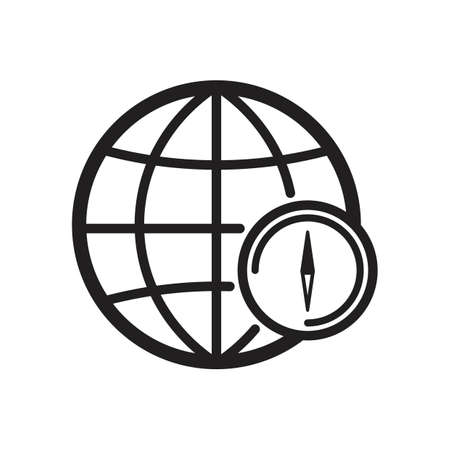 globe with compass concept icon