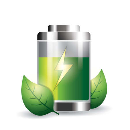 battery with leaves Imagens - 77173779