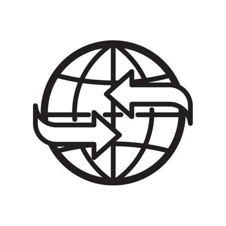 globe with arrow concept icon