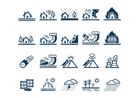set of disaster icons