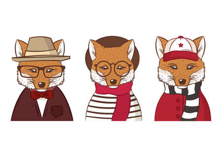 three hipster foxes