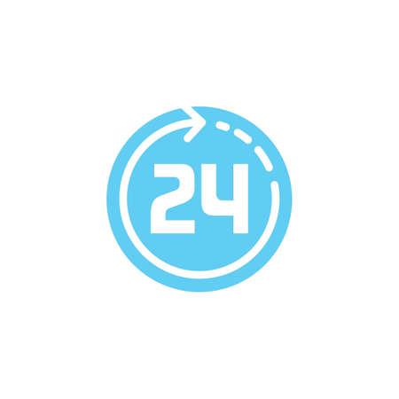 24 hours clock icon 일러스트