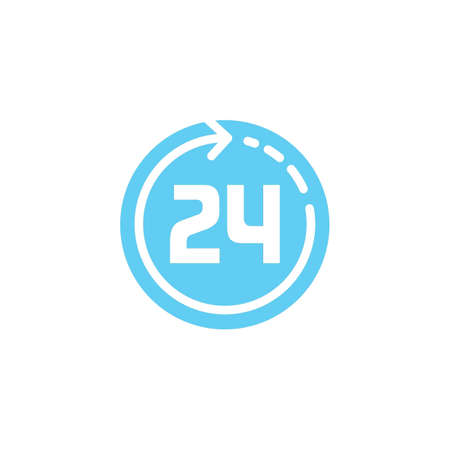 24 hours clock icon Vectores