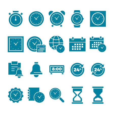 bell ringer: set of clock icons Illustration