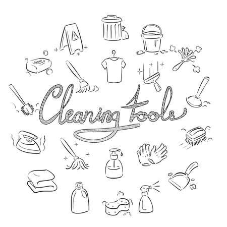 Set van schoonmaakpictogrammen Stockfoto - 77246237