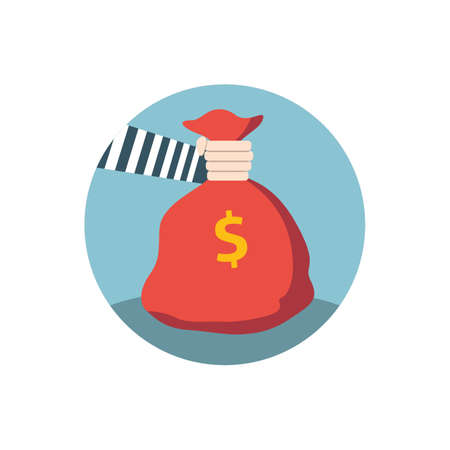 Hand grabbing bag of money icon Illustration