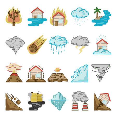 Sammlung von Katastrophen-Ikonen Vektorgrafik