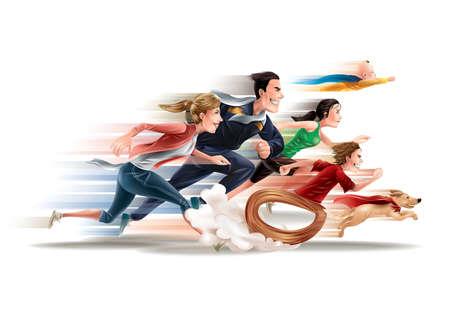 Family of superheroes Stock Illustratie