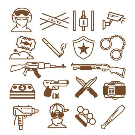 関連するアイコンを武器のコレクション