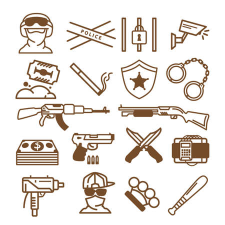 Collection of weapon related icons Stock Vector - 77251034
