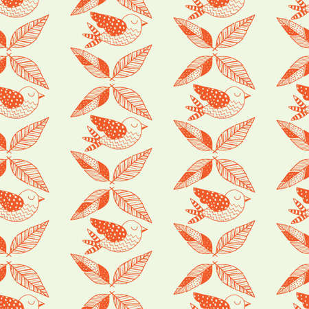 Bird with leaves background design Illustration