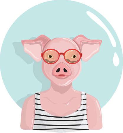 Pig character Ilustração