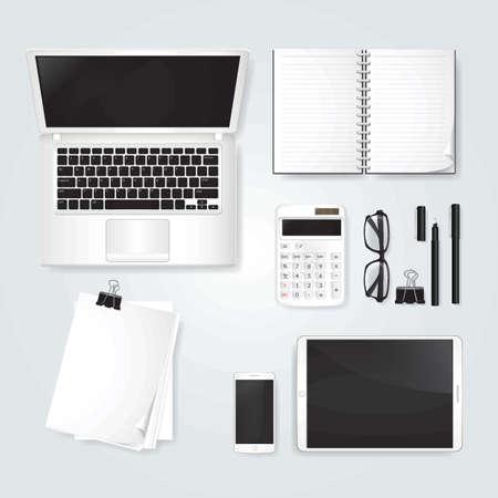 Minimalist table workspace Ilustração