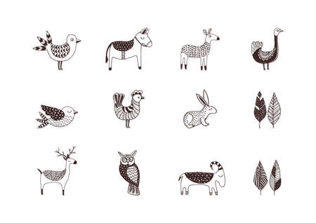 Collection of simple animal designs Ilustrace