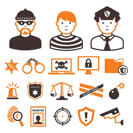 Collection of crime icons Stock Vector - 77253121