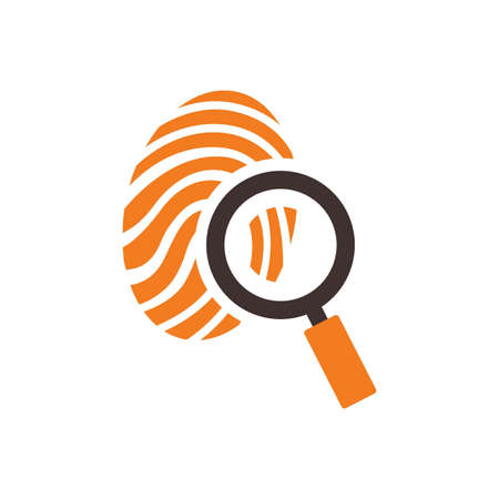 odcisk kciuka: Thumb print with magnifying glass