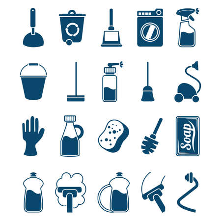 Household cleaning items icons